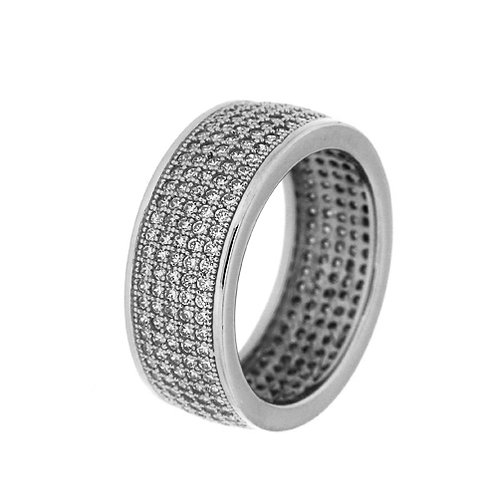 Hoop ring in Sterling Silver with Zircon