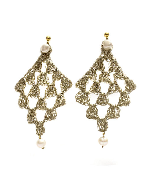 Earrings in Sterling Silver Wire with Pearls