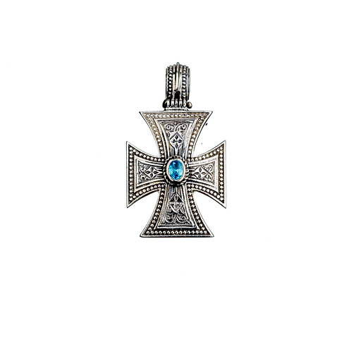 Maltese Cross in Sterling Silver with Zircon