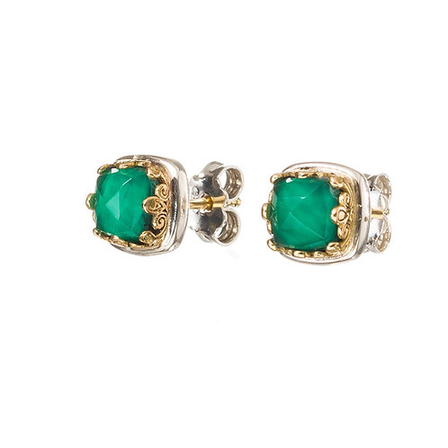 Earrings in 18K Gold and Sterling Silver with Doublet Stones