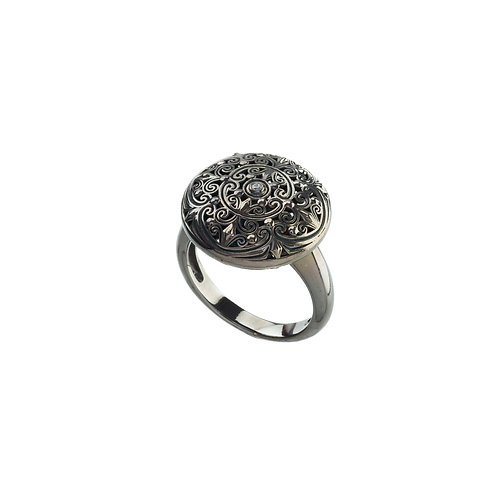 Ring in Black Plated Sterling Silver with Zircon