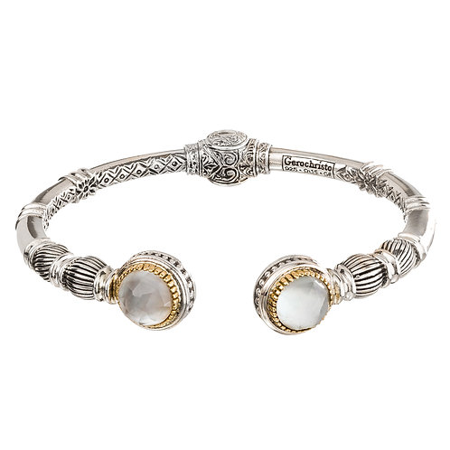 Bracelet in 18K Gold and Sterling Silver with Mother of Pearl