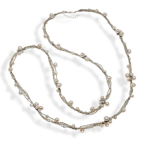 Necklace in Sterling Silver Wire with Pearls