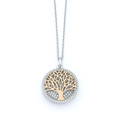 Tree of Life Necklace in Sterling Silver with Zircon