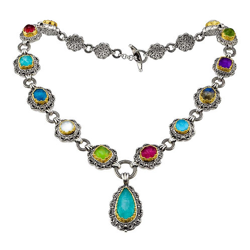 Necklace in Sterling Silver with Gold Plated Parts