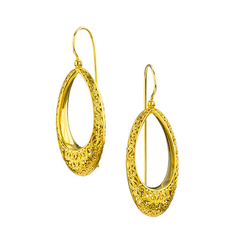 Oval Earrings in Gold Plated Sterling Silver