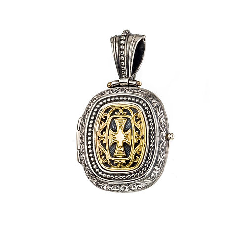 Locket Pendant in 18K Gold and Sterling Silver