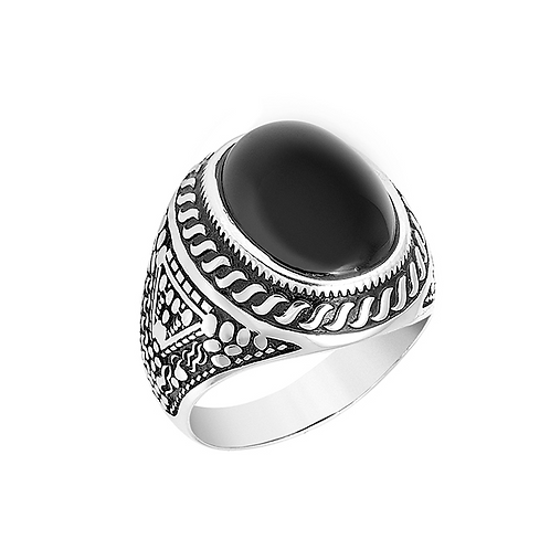 Men's Ring in Sterling Silver with Black Onyx