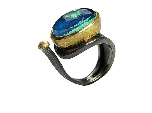Ring in Black Rhodium and Gold plated Sterling Silver with Azurite