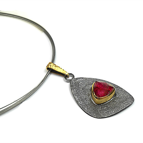 Necklace in Sterling Silver with Ruby