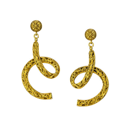 Lacy long Earrings in Gold Plated Sterling Silver