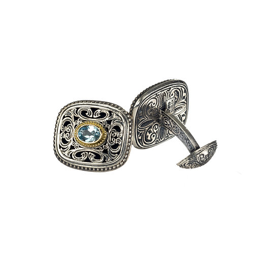 Cufflinks in 18K Gold and Sterling Silver with Blue Topaz
