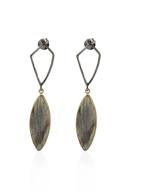 Earrings in Sterling Silver with Rutile