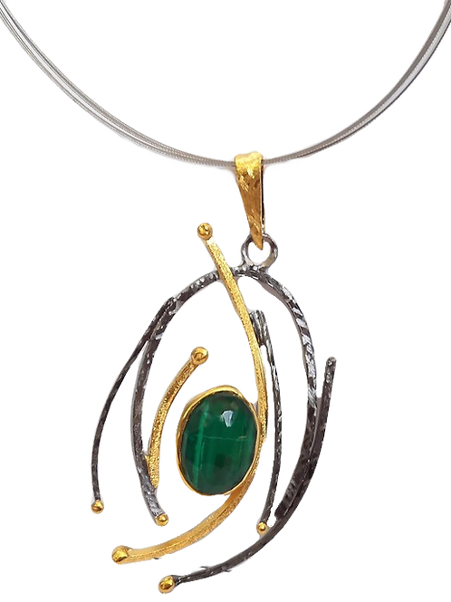 Necklace in Black Rhodium and Gold plated Sterling Silver with Malachite