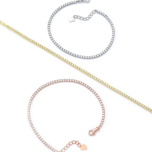 Tennis Bracelet in Sterling Silver with Zircon