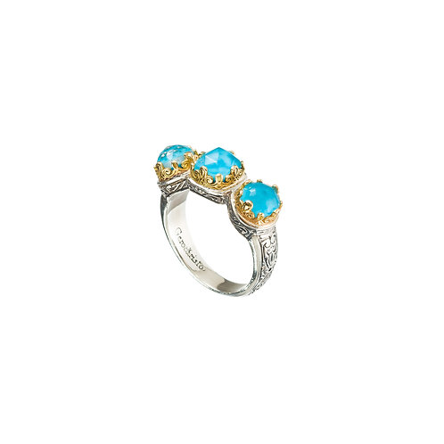 Ring in 18K Gold and Sterling Silver with Doublet Stone