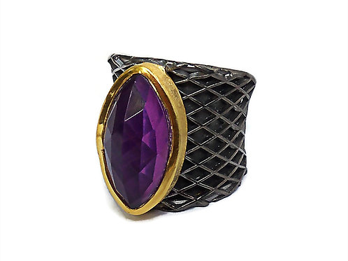 Ring in Sterling Silver with Amethyst