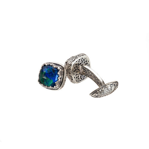 Cufflinks in Sterling Silver with Azurite
