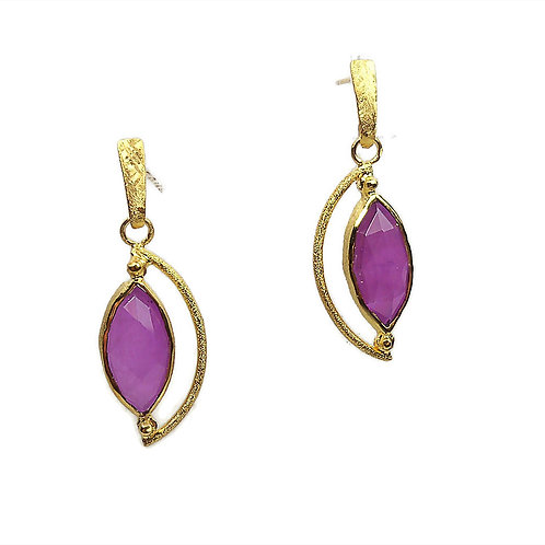 Earrings in Gold plated Sterling Silver with Amethyst