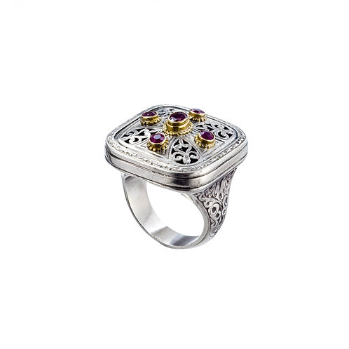 Ring in 18K Gold and Sterling Silver with Rubies