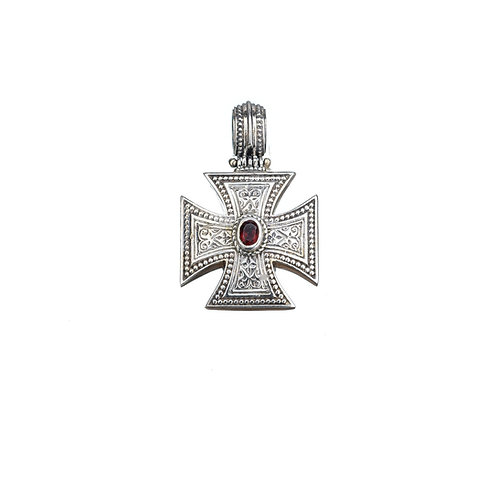 Maltese Cross in Sterling Silver with Garnet