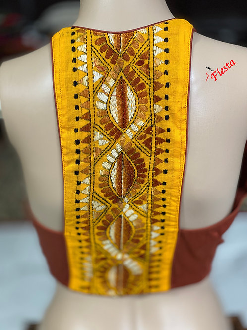 Silk cotton brown with yellow halter back katha work