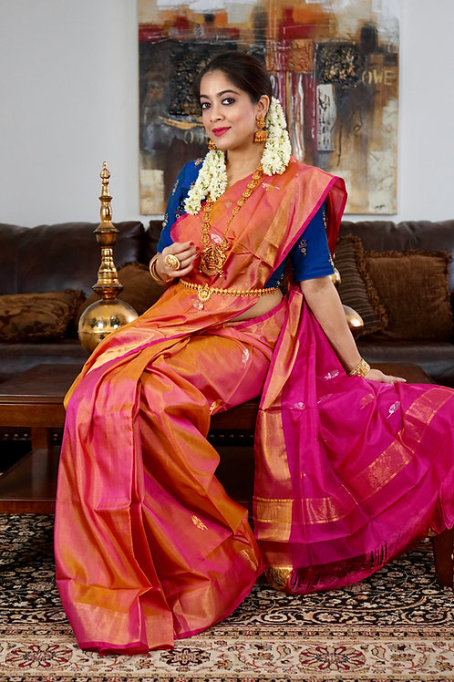 Burnt orange color Uppada silk