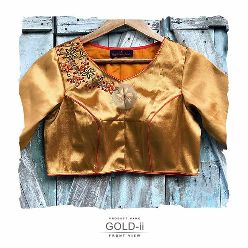 Gold blouse with embroidery