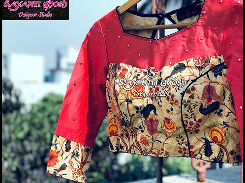 Floral Prints with Mirror work Blouse.
