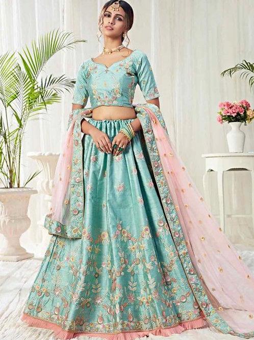 Titli - Sky Blue Silk Bridal Wear Sequins Work Lehenga Choli