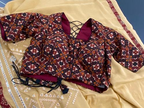 Ikkat blouse with back dori