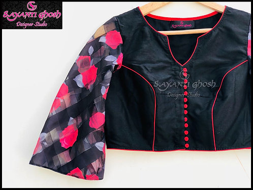 Black Blouse with Flower Bell sleeve