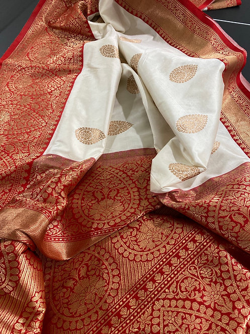Milk white pure silk katan Benarasi