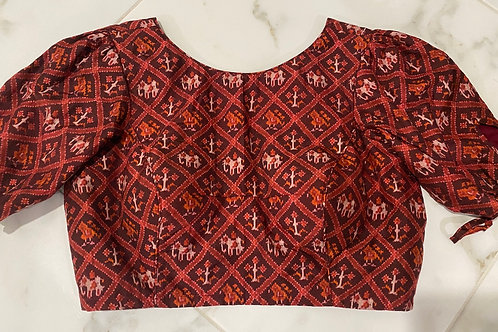 Maroon  silk cotton Patola V cut