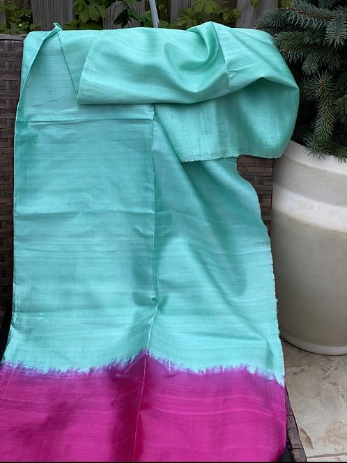 Borderless pastel shade Gicha saree.