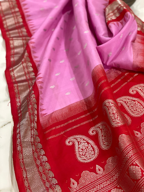 Pink with red Border  Gadwal