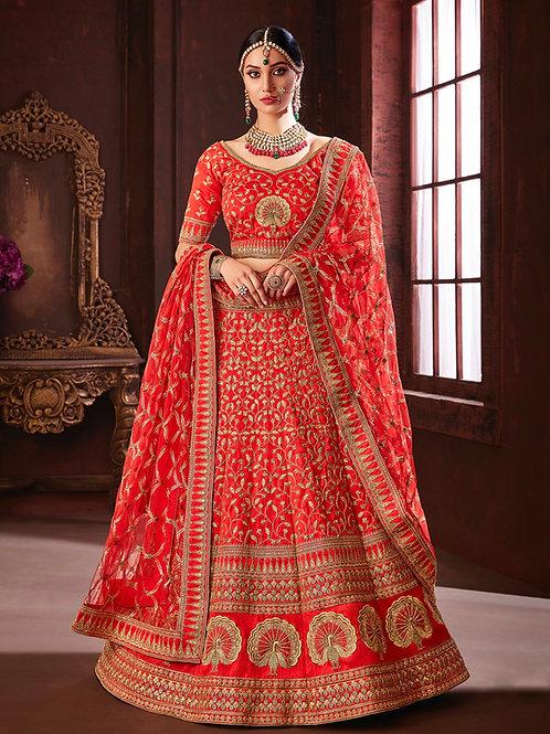 Megha - Red Pure Soft Silk Lehenga