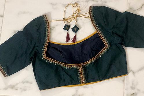 Dark green  silk cotton blouse .