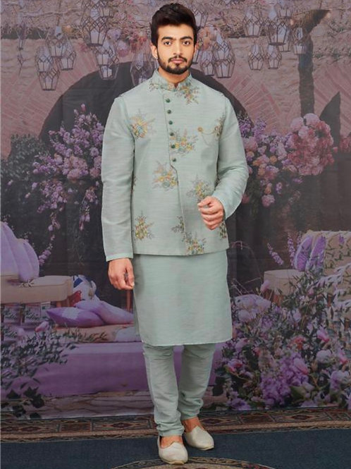 Sky Blue Silk Banarasi Festival Wear Embroidery Work Karta Pajama With Jacket