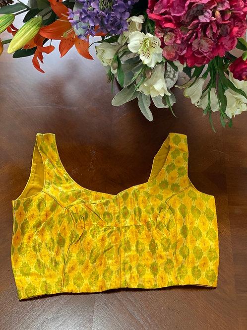 Yellow Ikkat V neck