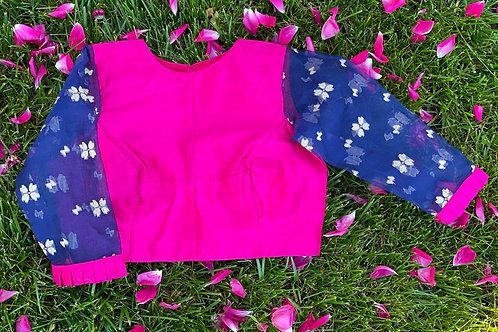 Pink  with  Blue Jamdani sleeves