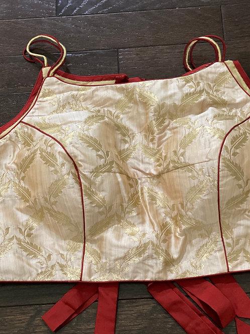 Pastel benarasi brocade with double back bow