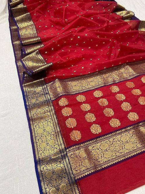 Red Chanderi silk Benarasi