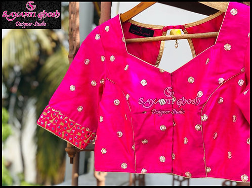 Hot Pink Blouse with embroidery
