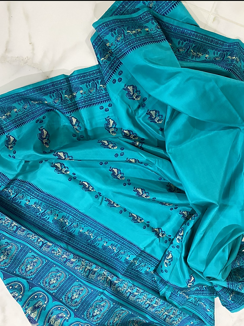 Dark Turquoise blue Baluchori silk