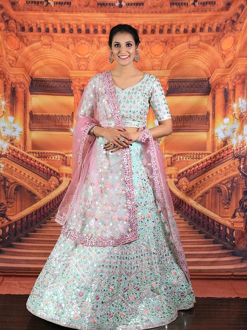 Prapti - Pista Green Silk Bridal Wear Embroidery Work Lehenga Choli