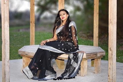 Chiffon Banarasi - Black & Silver