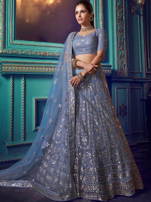 Raima - Grey Soft Net Reception Wear Sequins Work Lehenga Choli