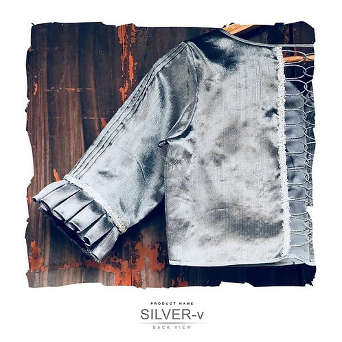 Grey Silver blouse with Back Strings.