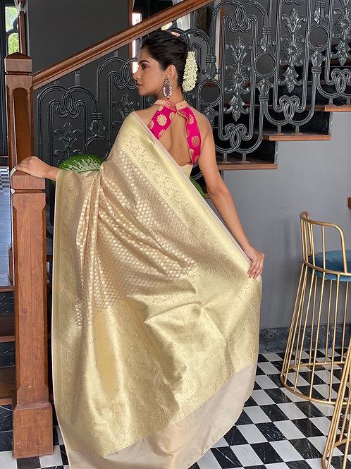 Pink gold Buta benarasi silk